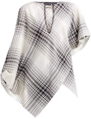Roland Mouret Durning Check Wool Crepe Top - Womens - Black White