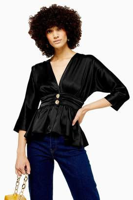Topshop Womens Plunge Button Ruched Blouse - Black