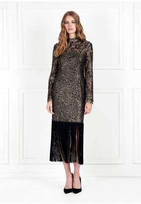 Rachel Zoe Hunter Metallic Lace Fringe-Hem Dress