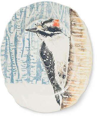 Vietri Into the Woods Woodpecker Oval Platter - Light Blue