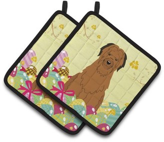 Caroline's Treasures Easter Eggs Briard Brown Pair of Pot Holders