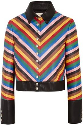 Sara Battaglia Cropped Striped Leather Jacket