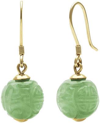 FINE JEWELRY Green Jade14K Yellow Gold Carved Earrings