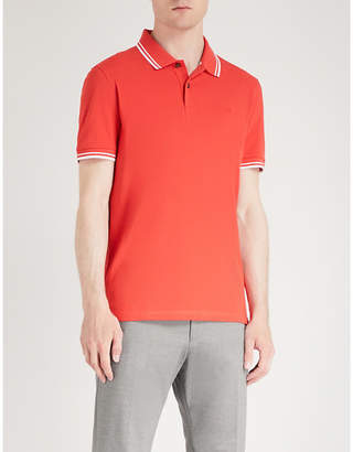 BOSS Striped-trim cotton-jersey polo shirt