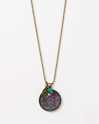 Lotus Pendant with Bead and Hamsa Charm