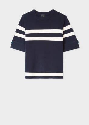Paul Smith Women's Dark Navy Stripe Wool-Blend Short-Sleeve Sweater