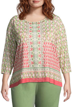 Alfred Dunner Parrot Cay Geometric Border Tee - Plus