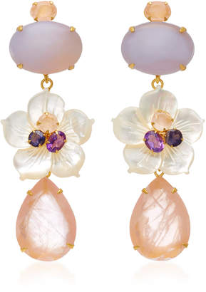 Bounkit 14K Gold-Plated Brass Chalcedony Mother of Pearl Amethyst Lolite Rose Quartz Earrings