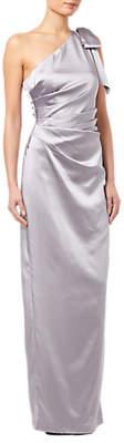 Adrianna Papell Satin Long Dress, Silver