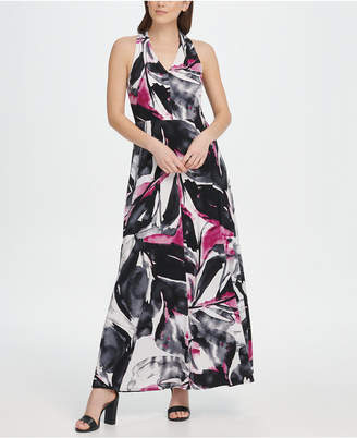 DKNY V-Neck Printed Jersey Maxi Dress