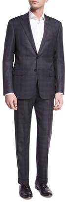Giorgio Armani Plaid Wool-Silk Two-Piece Suit, Gray