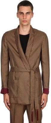 Triple Rrr Geometric Print Silk Satin Jacket