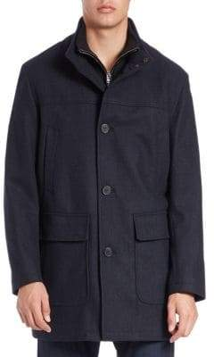 Cole Haan Bibbed Wool-Blend Coat