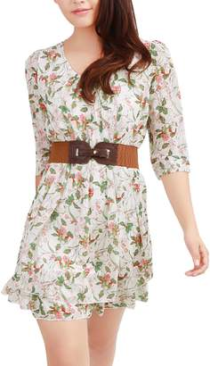 Allegra K Women's Above Knee Layered 3/4 Sleeve Floral Belted Dress S