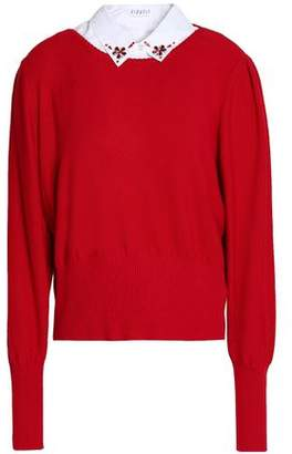 Claudie Pierlot Embellished Poplin-Paneled Cotton-Blend Sweater