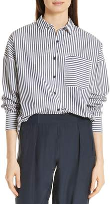 ATM Anthony Thomas Melillo Railroad Stripe Boyfriend Shirt