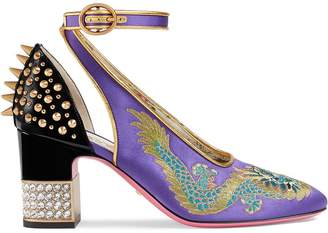 Gucci Purple Dragon satin pumps