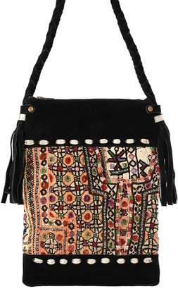 Vintage Addiction Black Suede & Vintage Fabric Crossbody Bag