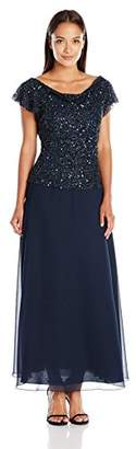 J Kara Women's Petite Short Sleeve Long All Over Beaded Dress