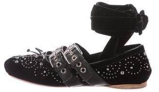 Miu Miu Velvet Ankle-Wrap Flats