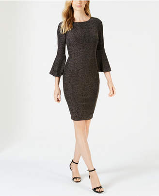 Calvin Klein Petite Bell Sleeve Metallic Knit Dress