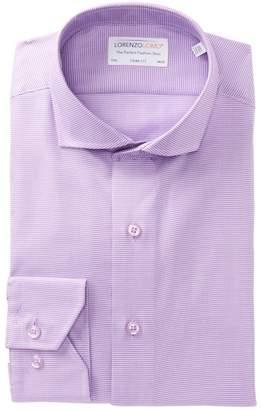 Lorenzo Uomo Check Print Textured Trim Fit Dress Shirt