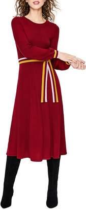 Boden Eden Belted Cotton & Wool Sweater Dress