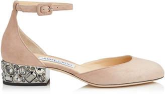 Jimmy Choo MARNIE 35 Ballet Pink Suede Round Toe Pumps with Metallic Embellished Heels