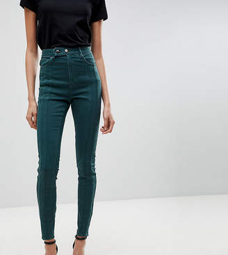 Asos Tall TALL RIDLEY High Waist Skinny Jean With Front Seam Detail And Extended button tab In Dark Forest Green