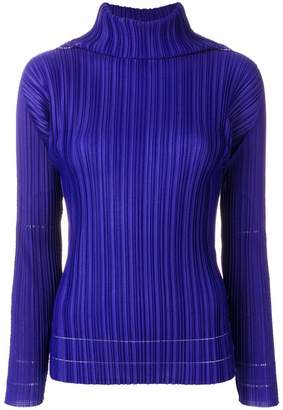 Pleats Please Issey Miyake cowl neck blouse