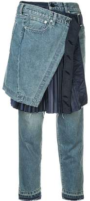 Sacai skirt overlay cropped jeans