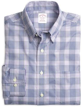 Brooks Brothers Supima Cotton Non-Iron Regular Fit Lavender with Blue Twill Sport Shirt