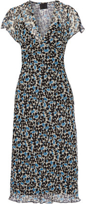 Anna Sui - Floral-print Crinkled Silk-chiffon Midi Dress - Black $415 thestylecure.com