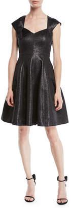 Halston Structured Metallic Cap-Sleeve Dress
