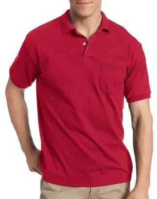 Hanes Big Men's EcoSmart Short Sleeve Jersey Polo Shirt with Pocket