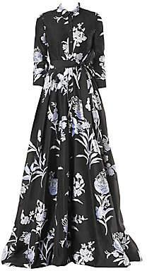 Carolina Herrera Women's Floral Stretch-Silk Trench Gown