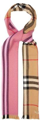 Burberry Colour Block Vintage Check Wool Scarf - Womens - Pink