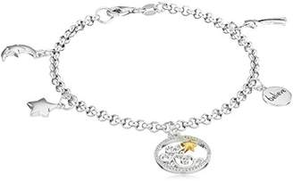 "Sterling Diamond Accent ""Believe"" with Shooting Stars and Moon Charm Bracelet (1/10cttw"