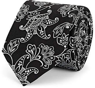 Barneys New York Men's Paisley Textured Silk Necktie - Black