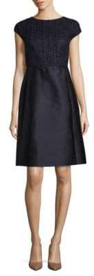 Lafayette 148 New York Hillany Mixed Media A-Line Dress