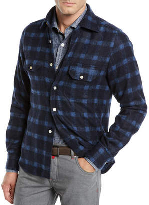 Kiton Men's Check Alpaca Shirt Jacket