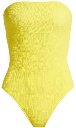 Diane von Furstenberg Strapless Smocked Swimsuit - Womens - Yellow