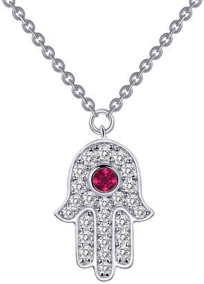 Lafonn Platinum Plated Sterling Silver Pave Simulated Diamond & Created Ruby Hamsa Pendant Necklace