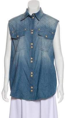 Balmain Quilted Chambray Top