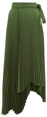 A.W.A.K.E. Mode Doric High Rise Pleated Midi Skirt - Womens - Dark Green