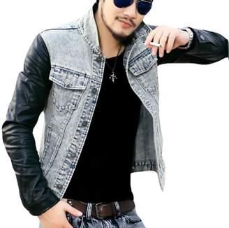 Urban Classics GAGA-men clothes GAGA Mens Hooded Denim Leather Jacket Denim Jacket XL