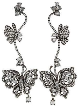 18K Diamond Butterfly Drop Earrings