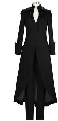 Processes Retro Double Cape Coat Long Trench Women Gothic Fashion Overcoat