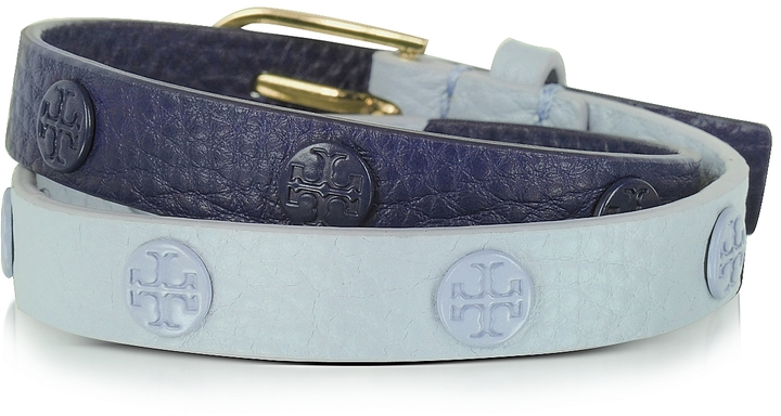 Tory BurchTory Burch Luna/Royal Navy Color-Block Double Wrap Logo Stud Bracelet