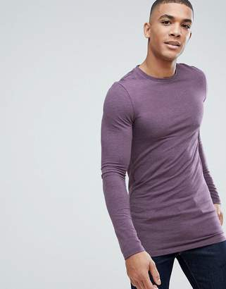 Asos Design Longline Muscle Fit T-Shirt With Long Sleeves In Purple